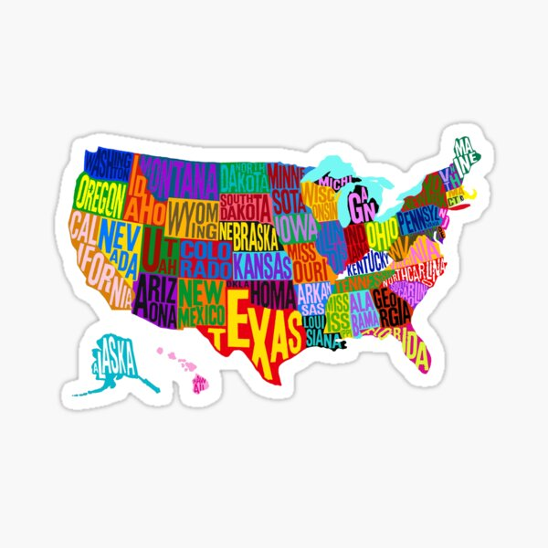 United States Color Word Cloud Sticker