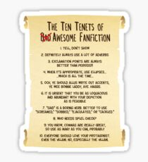 The Ten Tenets of Awesome Fanfiction Sticker
