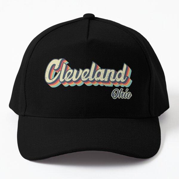 Cleveland city Ohio Retro Vintage 70s rainbow Baseball Cap