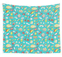 Teal Retro Street Urban Style Wall Tapestry