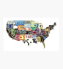 USA vintage license plates map Photographic Print