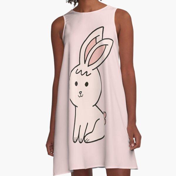 Cute Little Pink Bunny A-Line Dress