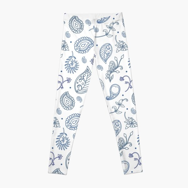 Paisley Hamptons Pattern in Blue and White Leggings