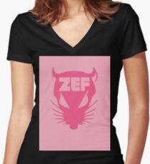 Camiseta entallada de cuello en V ZEF RAT en diseño de fuego