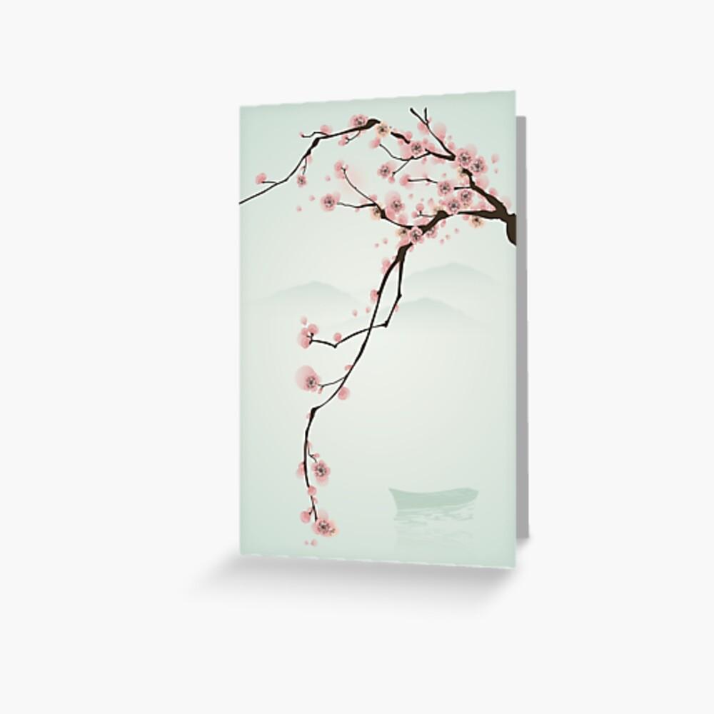Árbol de flor de cerezo rosa caprichoso Tarjetas de felicitación