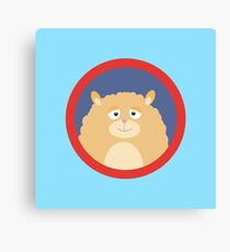 Cute fluffy Hamster with red circle Canvas Print