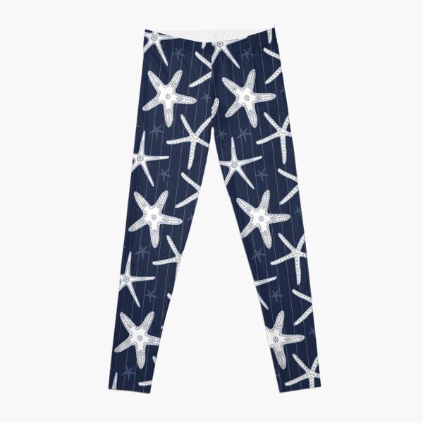 Hamptons Ocean Sea Star Starfish Striped Pattern Leggings