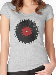 Grunge Vinyl Records Retro Vintage 50's Style Women's Fitted Scoop T-Shirt
