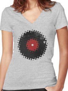 Grunge Vinyl Records Retro Vintage 50's Style Women's Fitted V-Neck T-Shirt