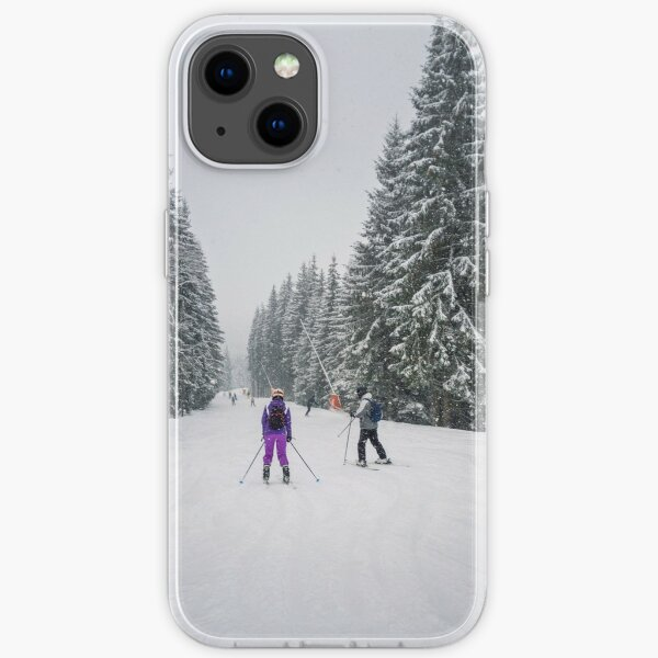 People skiing on the snowy slope iPhone Soft Case
