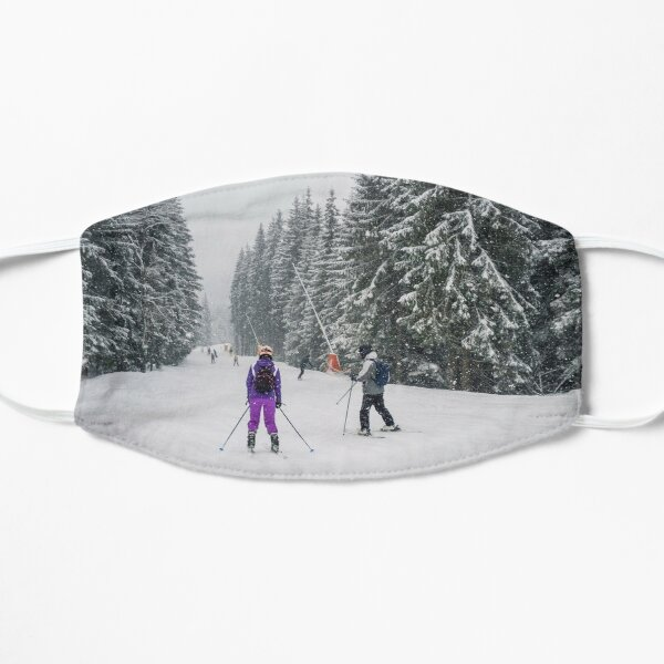 People skiing on the snowy slope Flat Mask