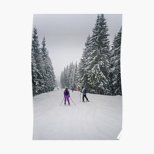 People skiing on the snowy slope Poster