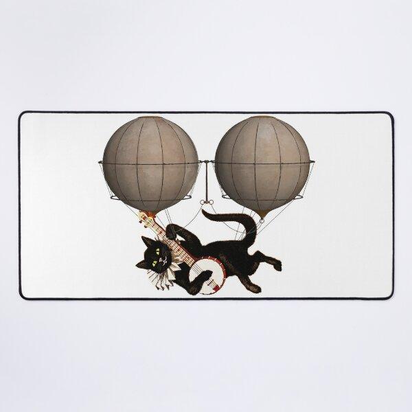 KATZE MIT GITARRE AN FLIEGENDEN BALLONS // Retro Katzen Musik Design Mauspad XXL