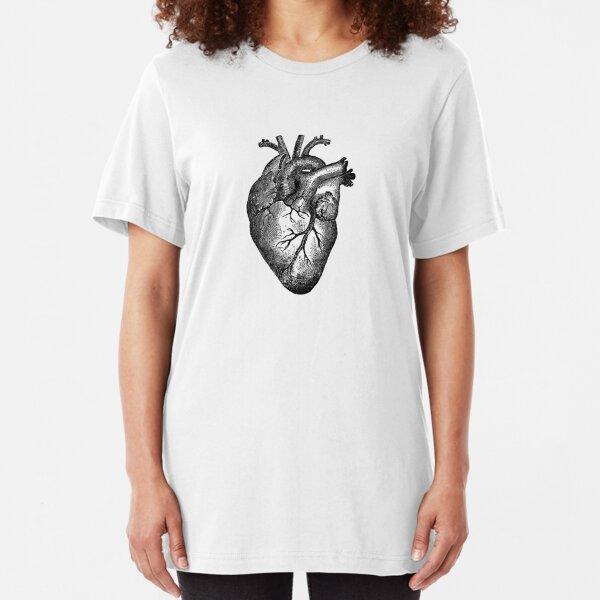 Vintage Herzanatomie Slim Fit T-Shirt