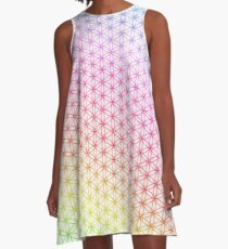 Flower of Life pattern rainbow on white A-Line Dress