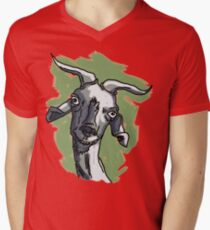 La cabra Asunción con Fondo Camiseta para hombre de cuello en v