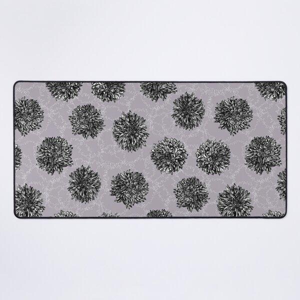 Ink Chrysanthemun Flower Print on Heather Ground Desk Mat