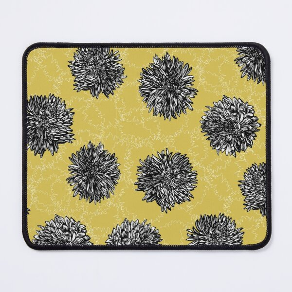 Copy of Ink Chrysanthemun Flower Print on yellow gold Ground Mouse Pad