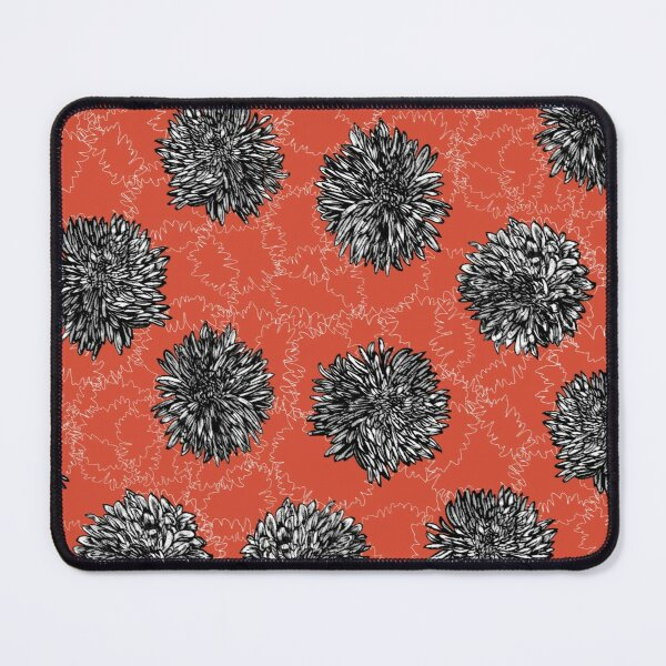 Copy of Copy of Ink Chrysanthemun Flower Print on Red Ground Mouse Pad
