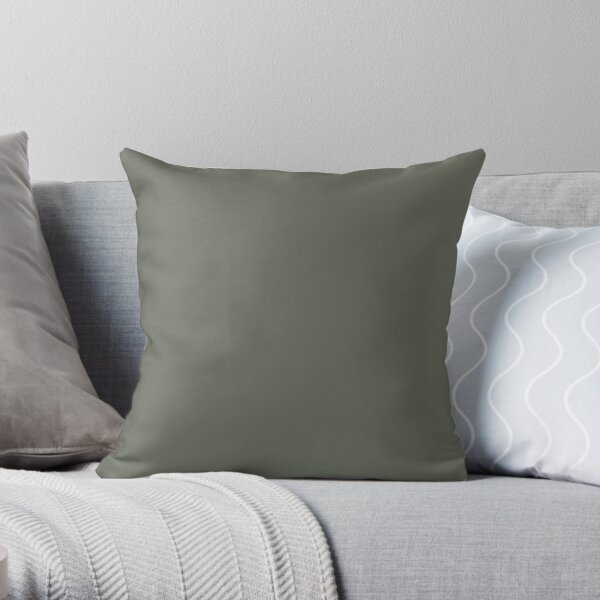 Forest Green Solid Color 2022 Trending Hue Rosemary SW 6187 Sherwin Williams Dreamland Collection - Colour Trends - Popular Shade Throw Pillow