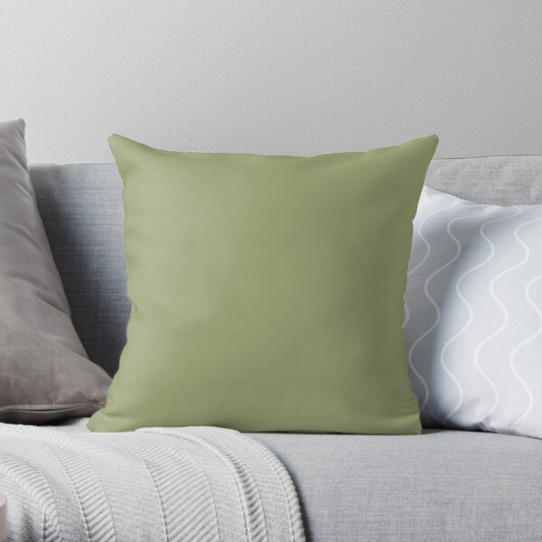 Dark Lime Green Solid Color 2022 Trending Hue Cucuzza Verde SW 9038 Sherwin Williams Dreamland Collection - Colour Trends - Popular Shade Throw Pillow