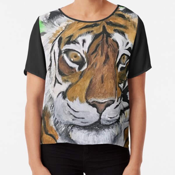 Tai Chi Tiger with Child Painting Chiffon Top