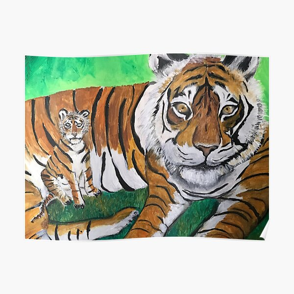 Tai Chi Tiger with Child Painting Poster