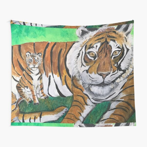 Tai Chi Tiger with Child Painting Tapestry