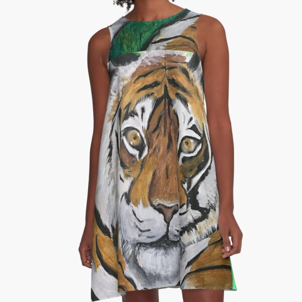 Tai Chi Tiger with Child Painting A-Line Dress