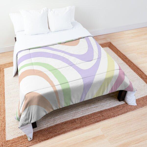 aesthetic groovy zebra, pastel colorful swirly lines Comforter