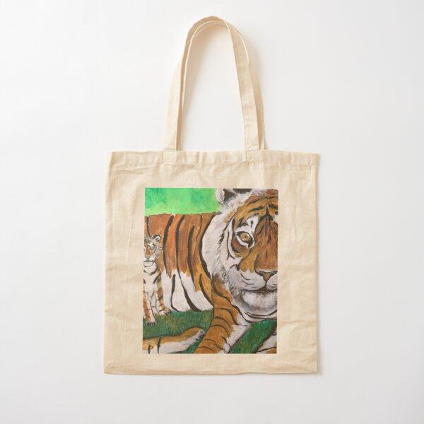 Tai Chi Tiger with Child Painting Cotton Tote Bag