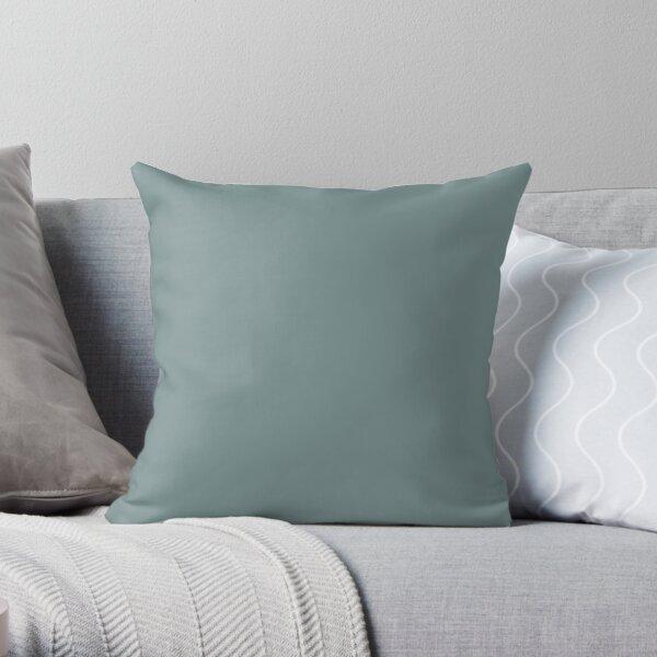 Dark Pastel Aqua Solid Color 2022 Trending Hue Moody Blue SW 6221 Sherwin Williams Ephemera Collection - Colour Trends - Popular Shade Throw Pillow