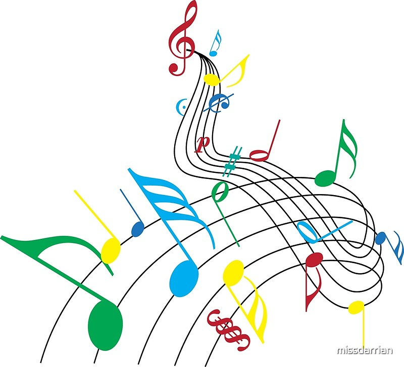 quotcolorful music notes on a swirl designquot posters by