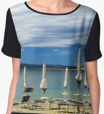 Empty sea beach with closed sun-umbrellas, Croatia, stormy weather, summer Women's Chiffon Top