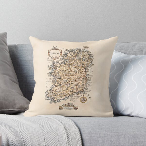 1927 vintage Ireland map Throw Pillow