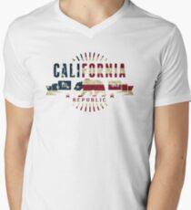 California Stars and Stripes Mens V-Neck T-Shirt