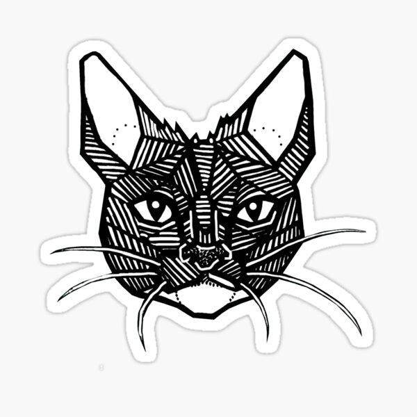 Geometric Cat Tattoo Sticker