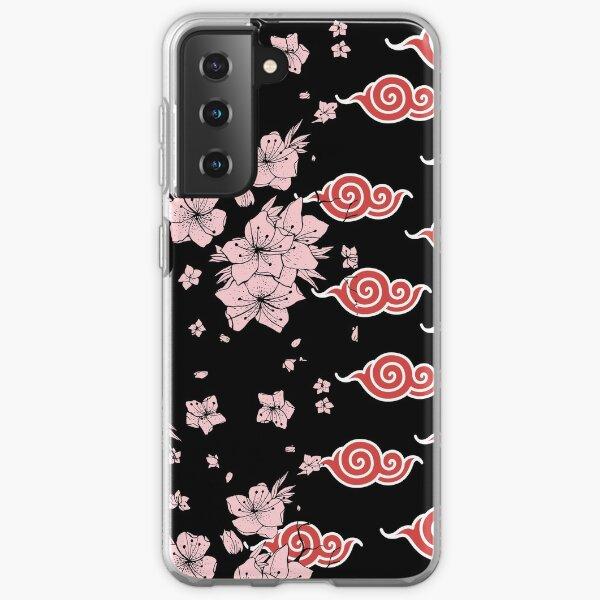 Sakura japonesa con anime de patrón de nube roja Funda blanda para Samsung Galaxy