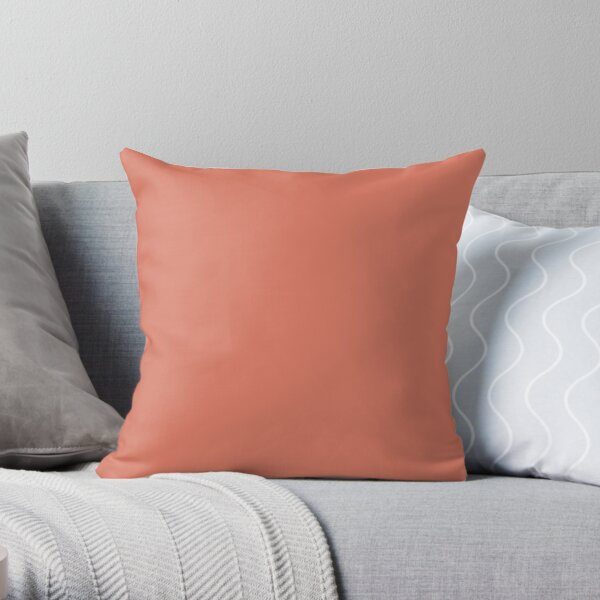 Pink Clay Solid Color 2022 Trending Hue Rejuvenate SW 6620 Sherwin Williams Ephemera Collection - Colour Trends - Popular Shade Throw Pillow