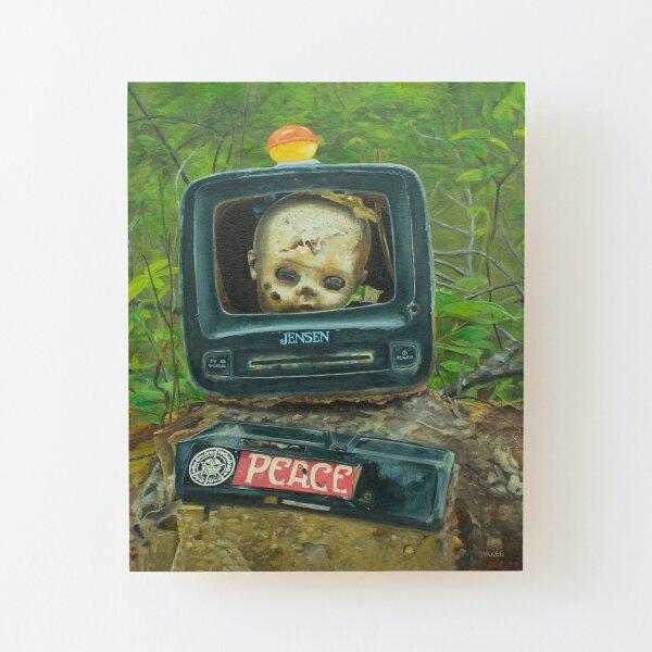 TV Head Wood Mounted Print