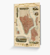 Map of New York 1851 Greeting Card