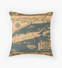 Map of Long Island Throw Pillow