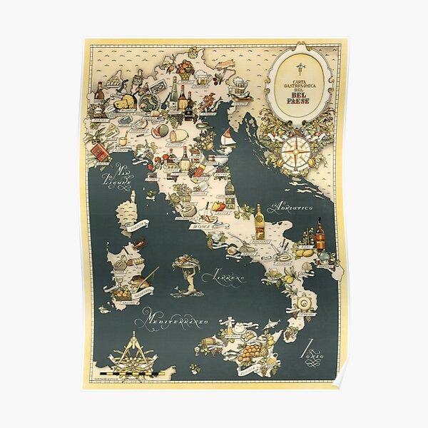 Carte gastronomique de l'Italie 1949 Poster