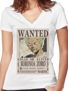 Roronoa Zoro Wanted Poster Women's Fitted V-Neck T-Shirt