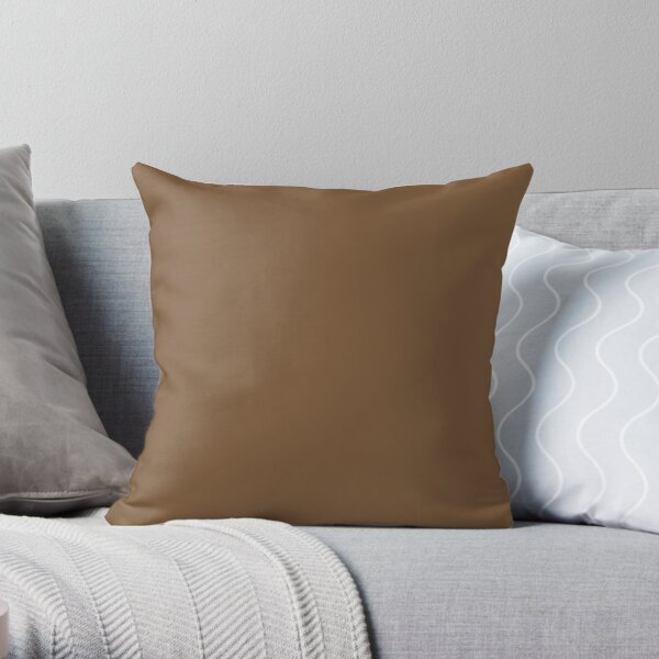 Dark Brown Solid Color 2022 Trending Hue Über Umber SW 9107 Sherwin Williams Method Collection - Colour - Shade - Color Trends Throw Pillow