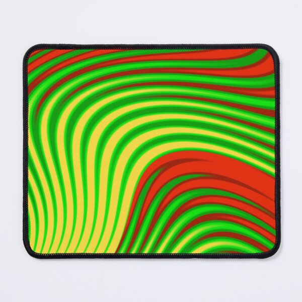 Abstract print  geometric  design with colorful gradient stripes and waves, red, green, yellow Mouse Pad
