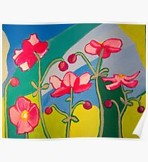 Japanese Anemones Colour blocks Poster