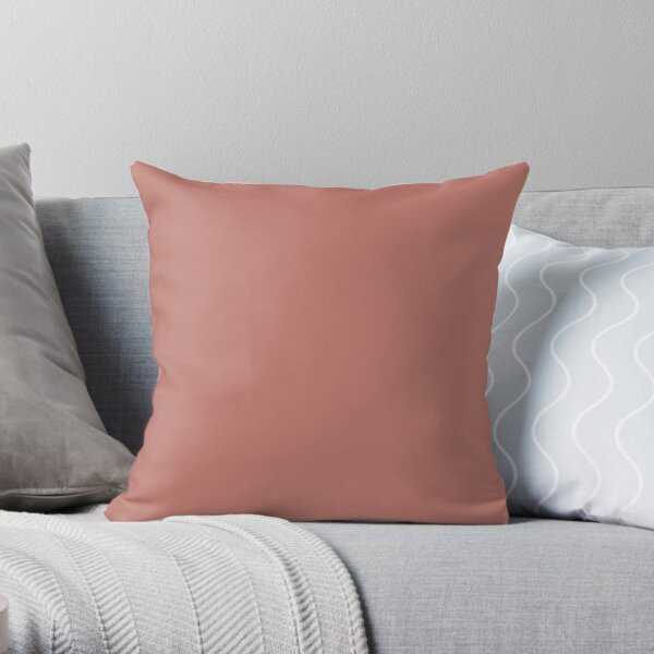 Dark Pink Solid Color 2022 Trending Hue Coral Clay SW 9005 Sherwin Williams Opus Collection - Colour Trends - Shade Throw Pillow