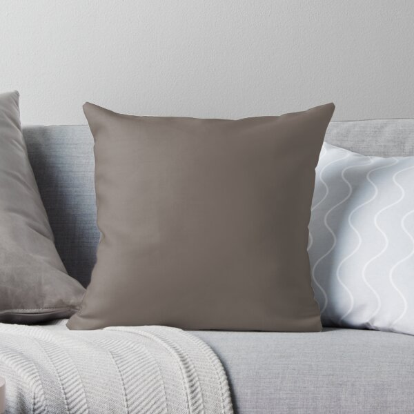 Dark Gray Brown Solid Color 2022 Trending Hue Garret Gray SW 6075 Sherwin Williams Opus Collection - Colour Trends - Shade Throw Pillow