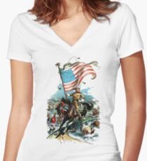 1902 Rough Rider Teddy Roosevelt Women's Fitted V-Neck T-Shirt